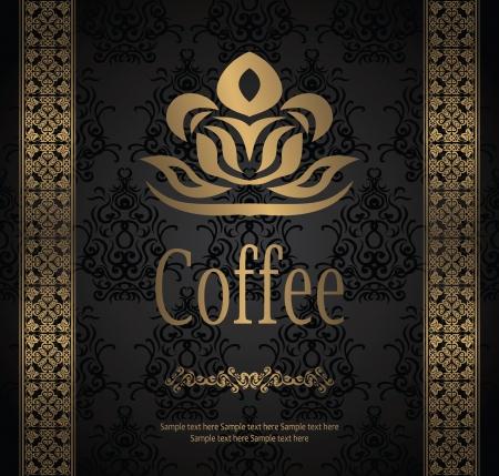coffee leaf: Seamless vintage background. Coffee menu               Illustration