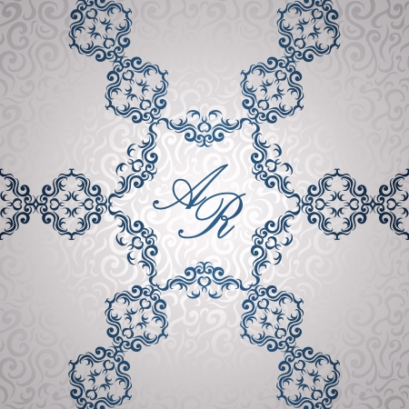 Stylish invitation with floral lace decoration. Romantic card          Vector