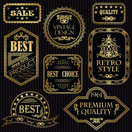 Set of vintage labels in gold  Retro style  Vintage collection  Illustration