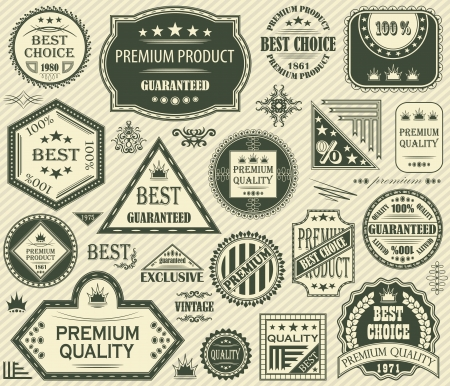 set of retro labels. Vintage design            Vector