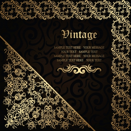 Elegant floral frame on a dark background. Stylish design. Can be used as a card or wedding invitation        Vector