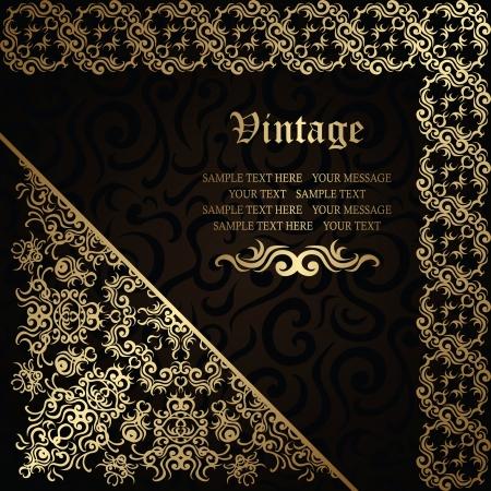 elegant frame: Elegant floral frame on a dark background. Stylish design. Can be used as a card or wedding invitation