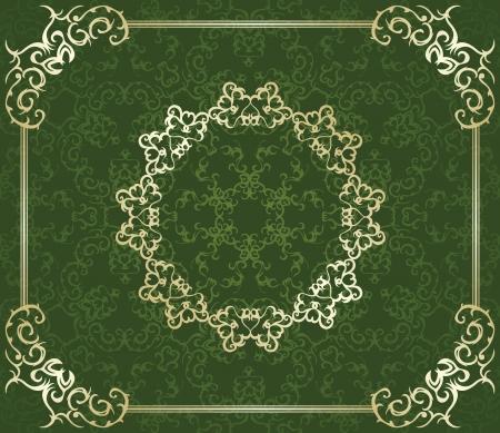 Elegant vintage frame on a green background. Seamless wallpaper  Vector