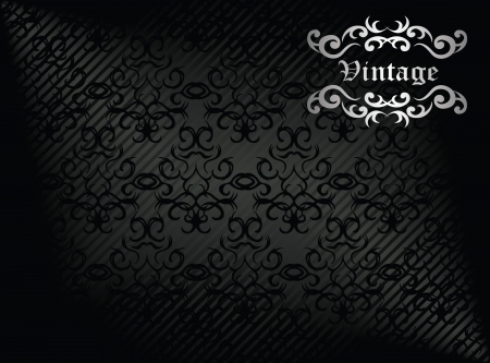 Damask seamless wallpaper on striped background in black. Vintage design       Vector