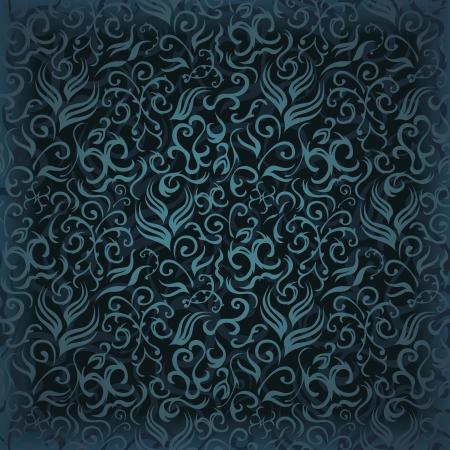magnificence: Vintage seamless wallpaper in blue. Floral design