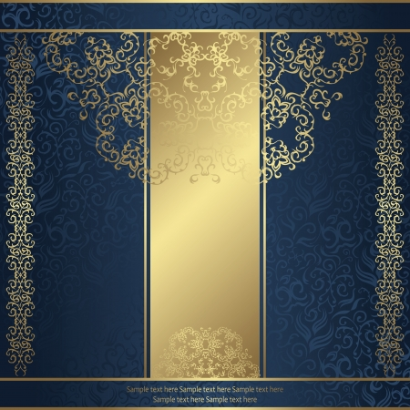 Elegant floral card on a seamless background in blue. Original design         Vector
