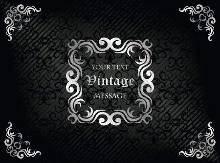 Elegant vintage frame. Damask seamless wallpaper on striped background in black. Retro design       Vector