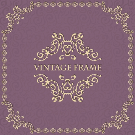 Vintage seamless background with a frame. Can be used as invitation    Vector
