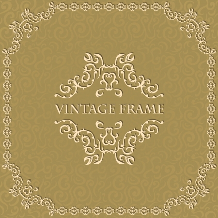 Vintage seamless floral background with a frame. Can be used as a card    Vector