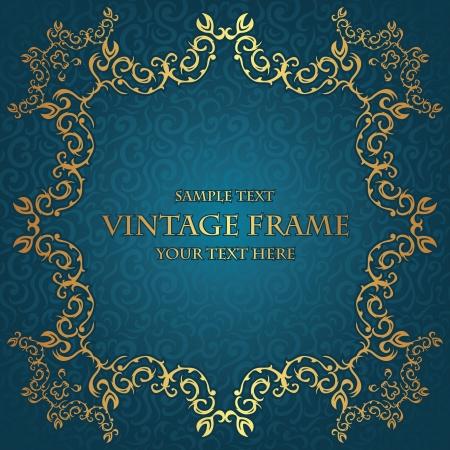 Stylish vintage gold frame on seamless floral background. Luxury design     Vector