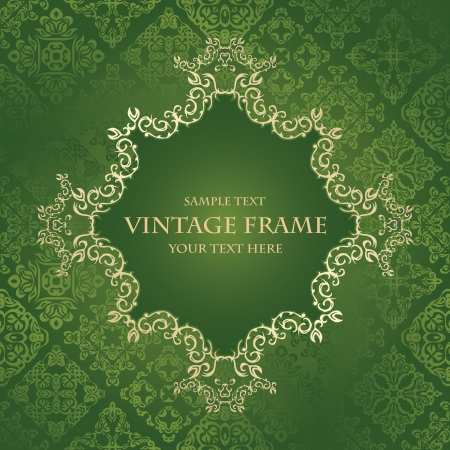 Vintage frame on a green background. Luxury design. Retro style       Vector