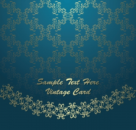 Vintage card on seamless wallpaper. Gold decoration, luxury design    Vector