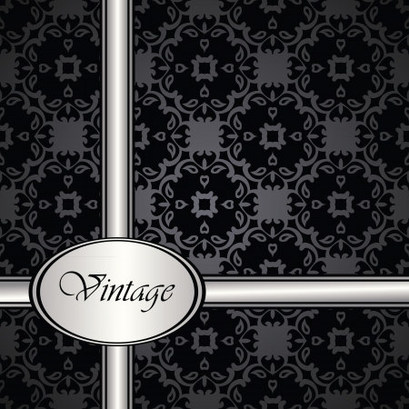 silver ribbon: Vintage seamless background in a black. Seamless wallpaper. Silver ribbon    Illustration