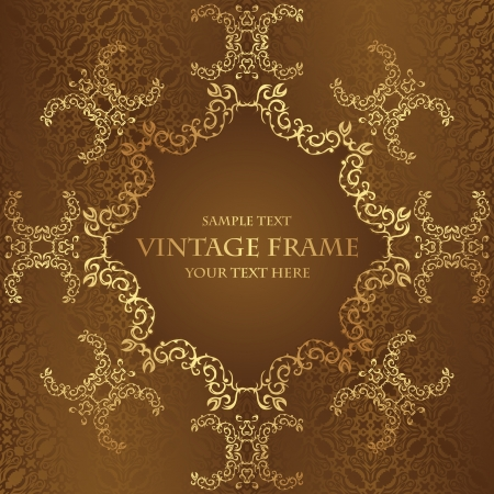Vintage frame on a brown background. Luxury design. Seamless wallpaper       Vector