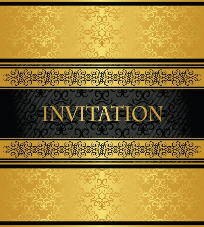 Vintage damask wallpaper with a gold decoration. Seamless background in black. Stylish invitation   Vector
