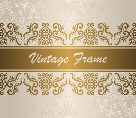 Elegant vintage border in gold. Light background. Seamless wallpaper