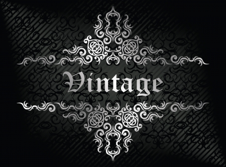 Damask seamless wallpaper on striped background in black. Vintage frame     Vector