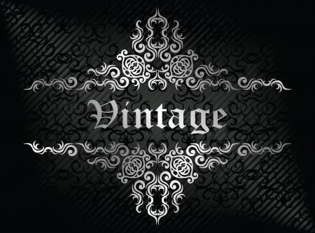 wedding backdrop: Damask seamless wallpaper on striped background in black. Vintage frame