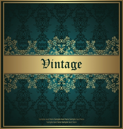 Vintage seamless background with a gold frame and decorative ribbon. Luxury invitation             Vector