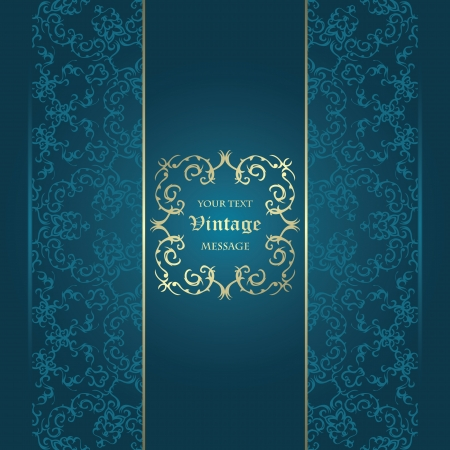 Vintage card on seamless background n a blue. Can be used as a invitation or greeting card     Vector