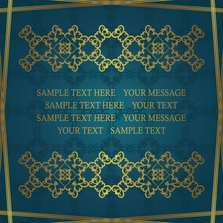 Seamless background in blue. Stylish invitation with a vintage decoration    Vector