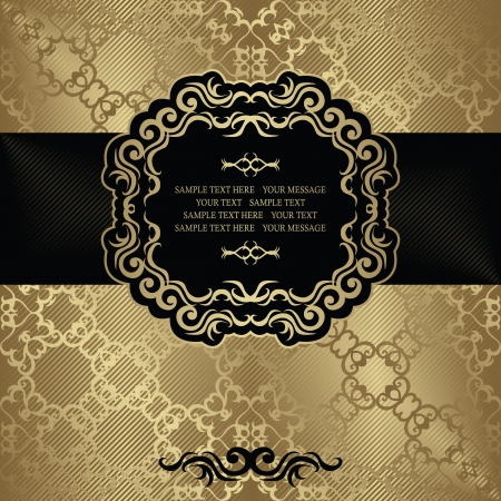 Stylish vintage card with vintage frame and ribbon. Original design. Seamless damask wallpaper    Vector
