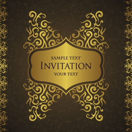 Stylish card with frame and grunge background. Floral design   Vector