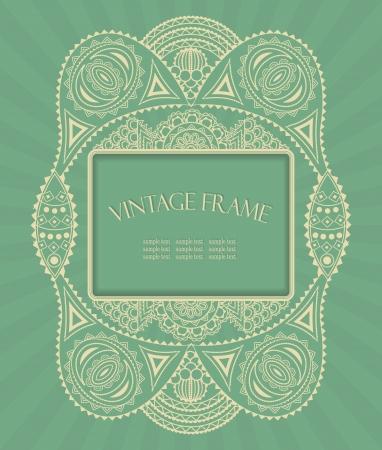 Abstract floral design. Vintage frame. Pastel colors    Illustration