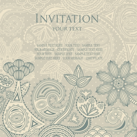 Elegant floral design. Vintage background with polka dots. Vector