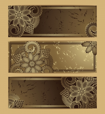 Vector set of floral card  Grunge background        Vector