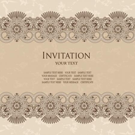 Elegant invitation with floral borders  Grunge background, pastel colors    Vector
