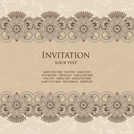 Elegant invitation with floral borders  Grunge background, pastel colors    Illustration