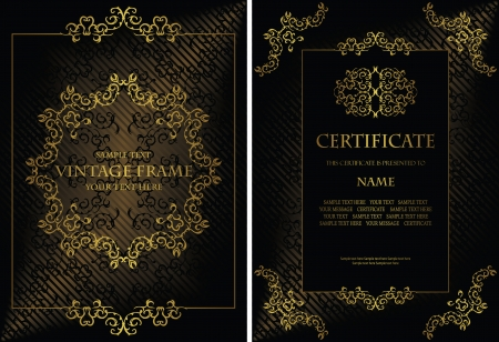 Vector set of elegant vintage background with a gold frame and certificate  Stylish design              Vector