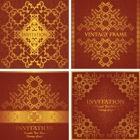 Vector set of vintage frames Vector