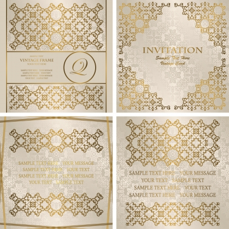 Vector set of cards with a gold decoration. Seamless background in pastel colors. Stylish invitation    Illustration