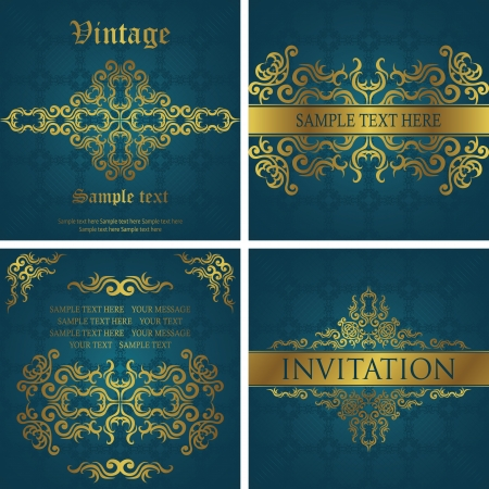 Vector set of vintage cards. Vintage frame. Stylish design     Vector