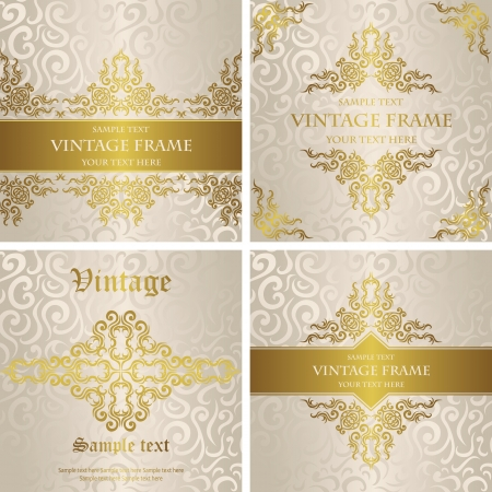 Vector set of cards with a gold decoration. Stylish wedding invitation