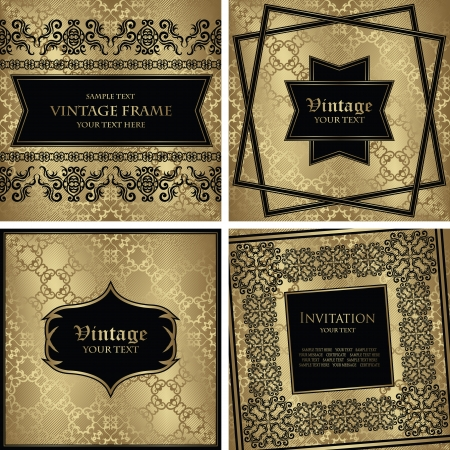 Vector set of vintage cards  Seamless background with frame  Retro design  Original style Vector