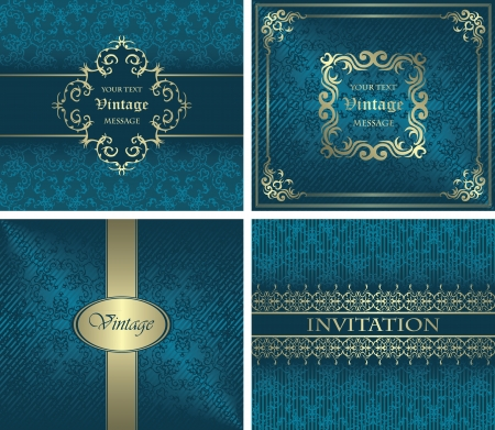 Vector set  Vintage cards on seamless background  Can be used as a invitation Vector