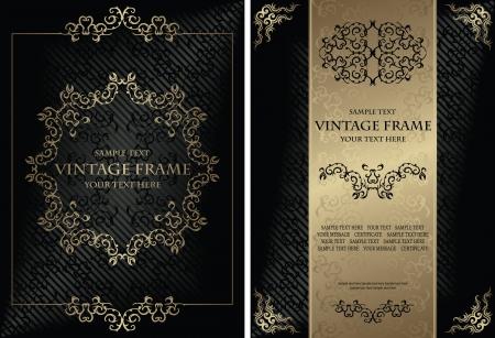 Vector set of elegant vintage background with frame and certificate  Stylish design