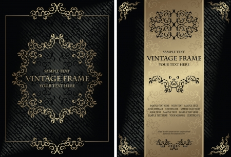 Vector set of elegant vintage background with frame and certificate  Stylish design