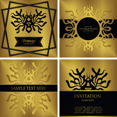 Set of vintage cards and frames with abstract pattern. Striped gold background  Vector