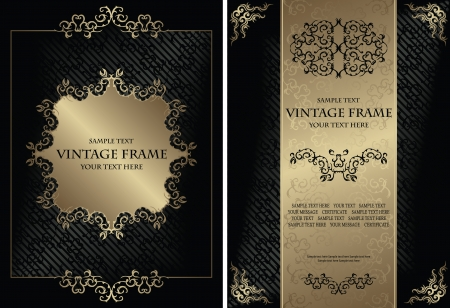 Set of vintage frames. Vintage background with a frame. Luxury design.  Can be used as certificate, diploma and other             Vector
