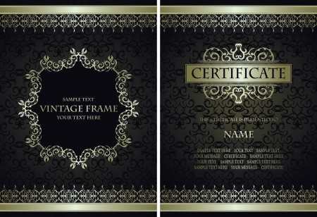 Set of vintage frames. Vintage background with a frame. Can be used as certificate, diploma and other             Vector