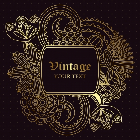 art deco design: Vintage floral card. Seamless background with polka dot