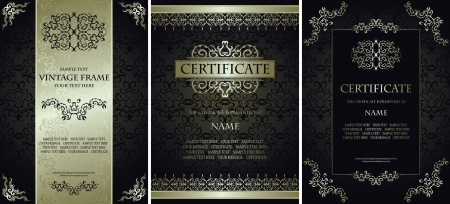 Set of vintage backgrounds with a frames  Luxury design   Can be used as certificate, diploma and other             Vector