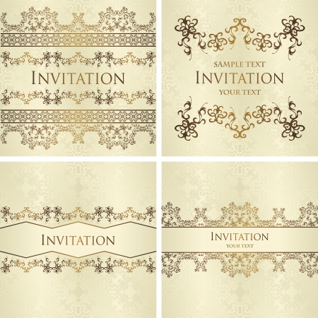 Set of vintage seamless backgrounds with decorative ribbons  Seamless wallpaper    Stock Vector - 23907999