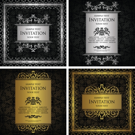 Set of vintage frames  Vintage background with a luxury frame  Luxury design                  Vector