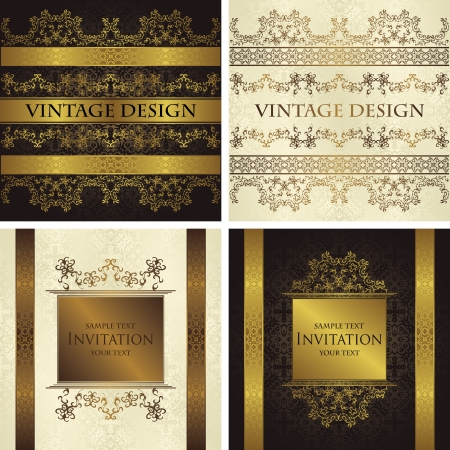 Set of vintage seamless backgrounds with decorative ribbons  Seamless wallpaper    Vector