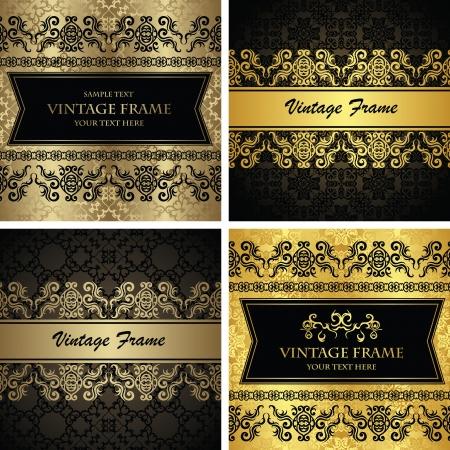 cenefas decorativas: Conjunto de vectores de tarjetas de la vendimia Fondo transparente con bordes decorativos de dise�o retro estilo original